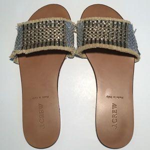 J. Crew Metallic Raffia Slides Sandals